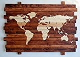 Extra Large Rustic World Map Stained Wall Art on Distressed Solid Wood