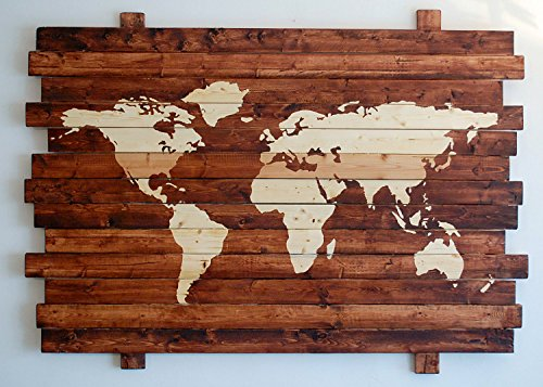 Extra Large Rustic World Map Stained Wall Art on Distressed Solid Wood by PYNEandSTEELE