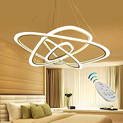 Ziplighting Modern LED Chandelier Pendant Light with Triangle Ring Adjustable Pendant Light Ceiling Fixture Contemporary for Bedroom Living Room Dining Room Kitchen Island with Remote Control