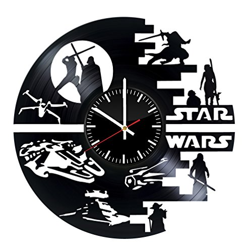 Fun Door Star Wars Yoda Darth Vader Jedi Handmade Vinyl Record Wall Clock for Birthday Wedding Anniversary Valentine's Mother's Ideas for Men and Women him and -