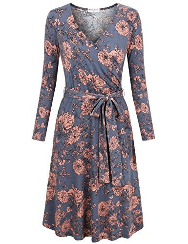 MOOSUNGEEK Midi Dresses, Women's Casual Party Wedding with Sleeves Casual A Line Midi Faux Wrap Dress Grey Pink Flower L