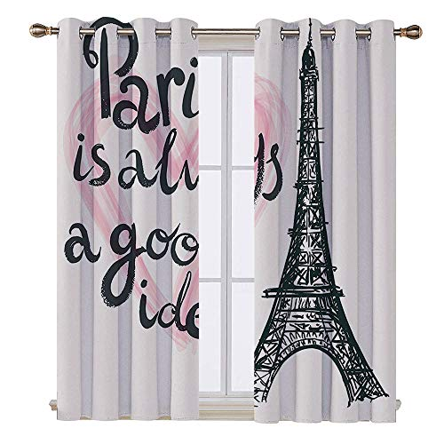SATVSHOP Blackout Window Curtain- 72W x 63L Inch-Room Darkening Wide Curtains.Eiffel Tower Lettering in Heart Fashion Modern Europe Dream Tour Artful Sketch -