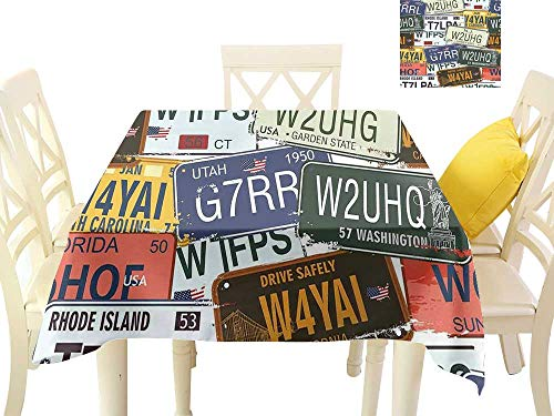 - W Machine Sky Oil-Proof and Leak-Proof Tablecloth Vintage Decor Original Retro License Plates Creative Travel Collections Art W60 xL60 Suitable for Buffet Table, Parties, Wedding