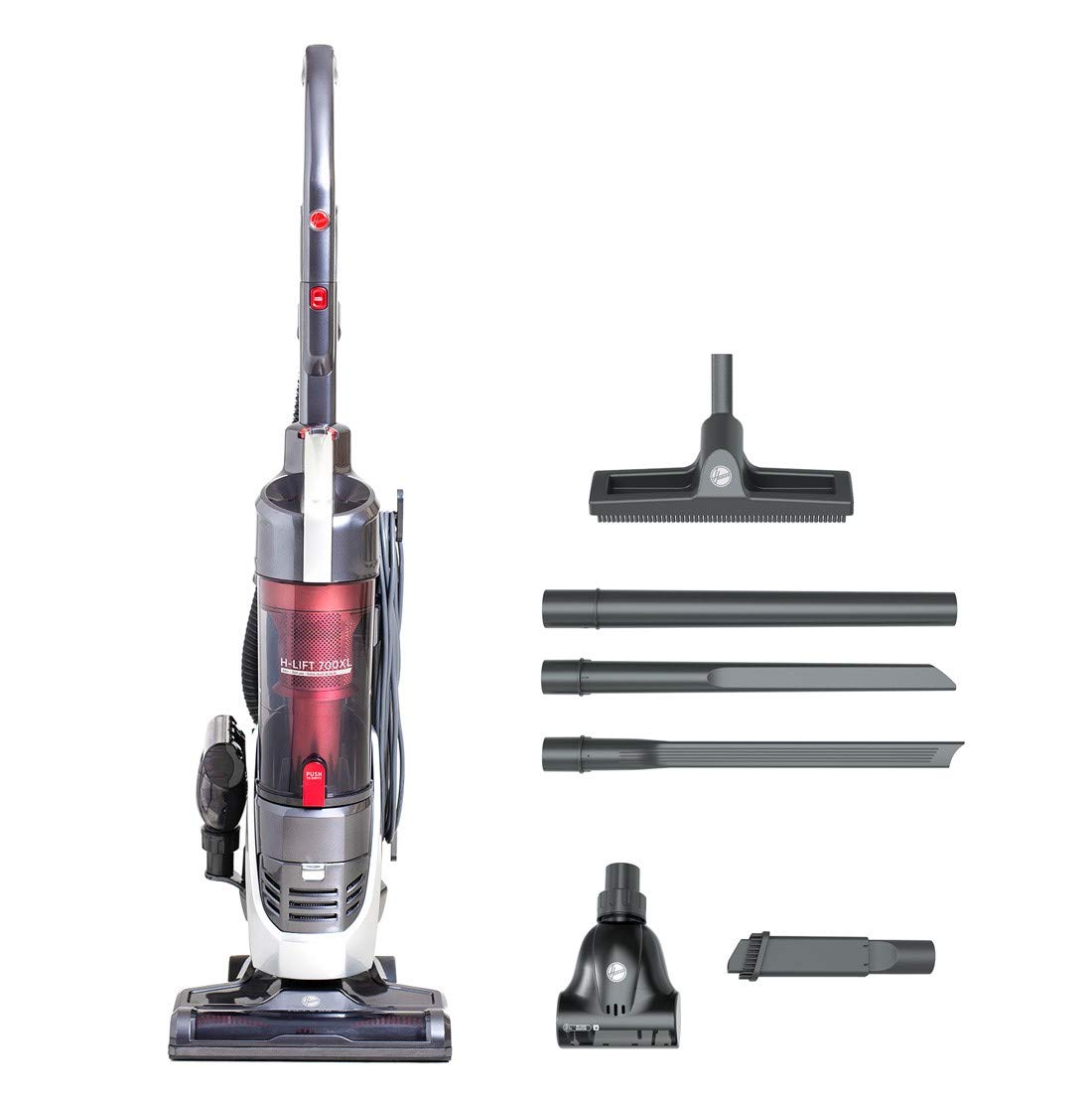 Hoover H-Lift 700 Pets XL 3in1 Upright Bagless Vacuum Cleaner, HL700PXL, Lift-Out, Stick, Powerful, HEPA, Extra Tools - Grey/Red