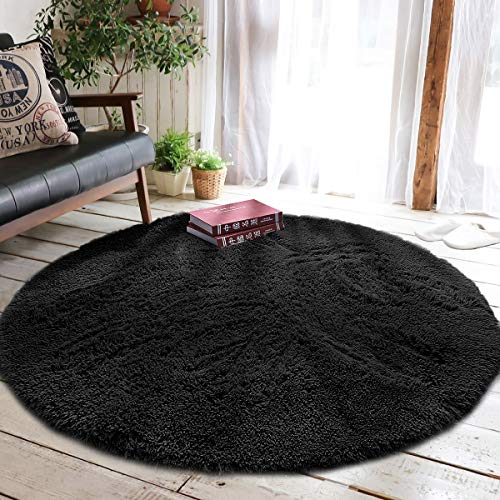 junovo Round Fluffy Soft Area Rugs for Kids Girls Room Princess Castle Plush Shaggy Carpet Baby Room Decor, Diameter 4ft Black (Ladybug Area Rug)