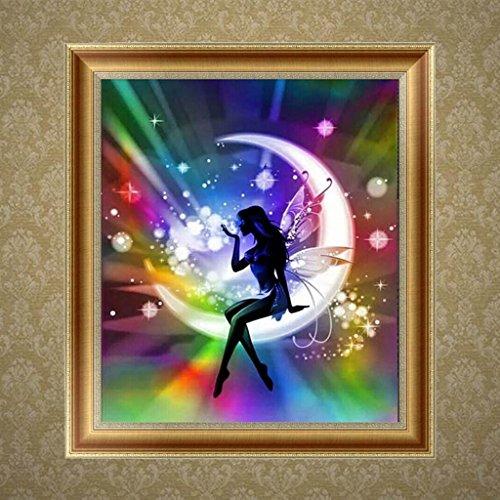 [해외]Feamos 5D 다이아몬드 자수 키트 DIY 벽 장식을위한 달 크로스 스티치 공예에 요정/Feamos 5D Diamond Embroidery Kit Fairy on the Moon Cross Stitch Craft for DIY Wall Decor