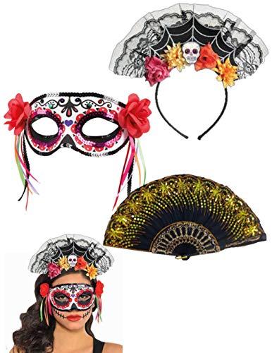 Day The Dead Sugar Skull Mask - Rose Flower Mexican Headband - Lace Fan -