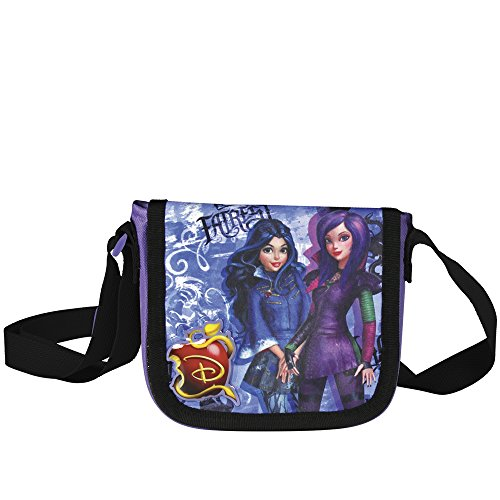 Shoulder Bag Girl With Bad Printing And Evie Of Disney Movie Descendants - Practical Travel Bag Cross Front Closure Girl With Purple - Perletti 14x15,5x4 Cm