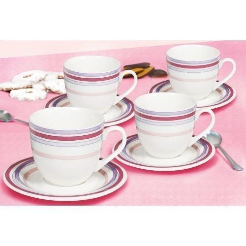 (Tognana 210 cc 4-Piece Pearl Granada Tea Cup and Saucer Set, White)
