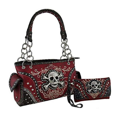 Skull Red Wallet Embroidered Set Embroidered Rhinestone Concealed Skull Wallet Purse Rhinestone Carry Concealed Purse Carry qvHR4ZA