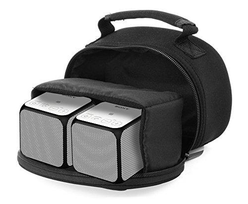 DURAGADGET Shock-Absorbing & Ultra-Portable Neoprene Portable Speaker Case in Black - Suitable for Two Sony SRS-X11 Wireless Portable - Srs Shock Rear