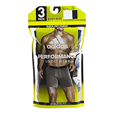 adidas Mens 3 Pack Climalite Performance Boxer Briefs (X-Large, Onix/Black/Grey): Sports & Outdoors