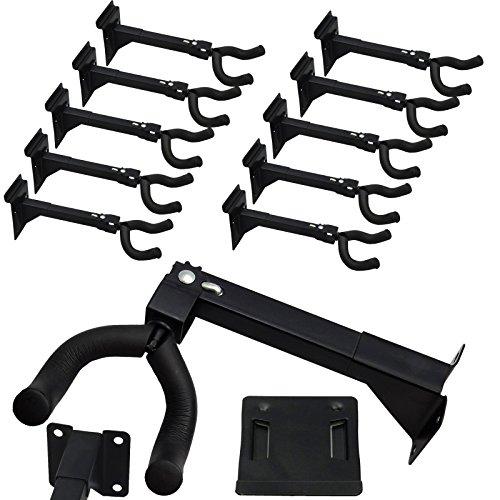 (Set of Ten (10) Adjustable Guitar & String Instrument Hanger Hook Holder ~ Mount with Screws, Bolts, or Included Standard 3