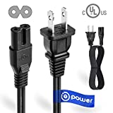 T-Power UL Listed 4FT 2 Prong Ac Power Lead Cable Cord for Haier Sony Insignia JVC Sharp TCL Toshiba Vizio Hisense Ultra HD Smart LED TV 26