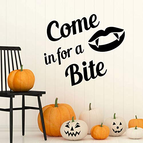 Halloween Decoration Quote 'Come in for a Bite' -Fall Vinyl Decor for the Home or Door - Mouth and Fangs Silhouette -