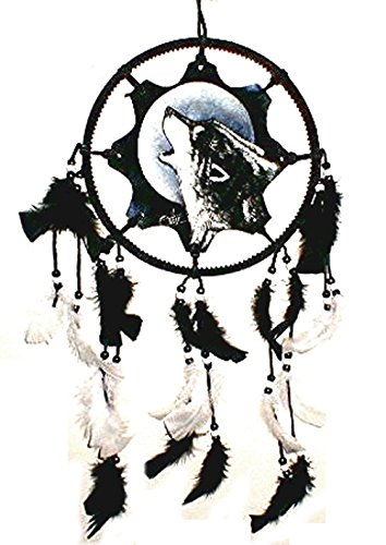 RC Howling Wolf Hand Painting Leather Dream Catcher Mandela Native American Aztec Art