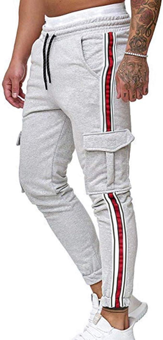 huateng Pantalones de chándal para Hombre Diseño de Bolsillo ...