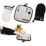 Oven Mitts Heat Resistant 100% Cotton Oven Gloves Non-Slip for Cooking, Baking, Barbecue Potholder 1 Pair with Pot Holder