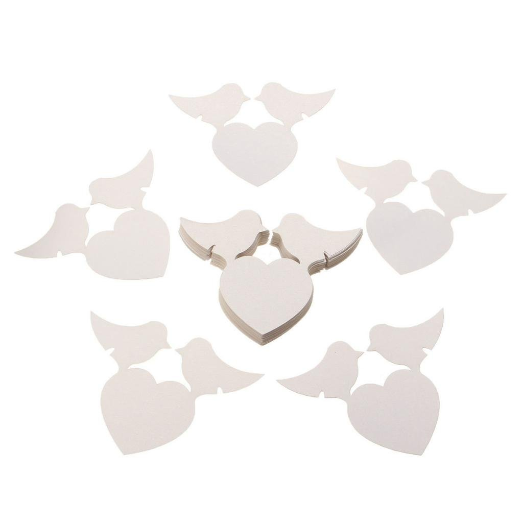 50pcs Love Heart Birds Place Name Cards Wine Glass Wedding Favor Xmas Party Table Decor Generic STK0156012210
