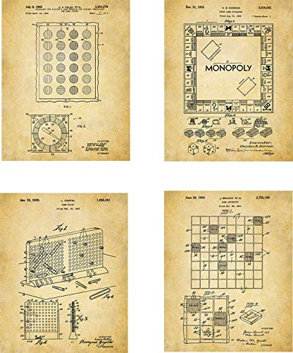 Classic Board Games Patent Wall Art Prints - set of Four (8x10) Unframed - wall art decor for game fans (Board Game Art)