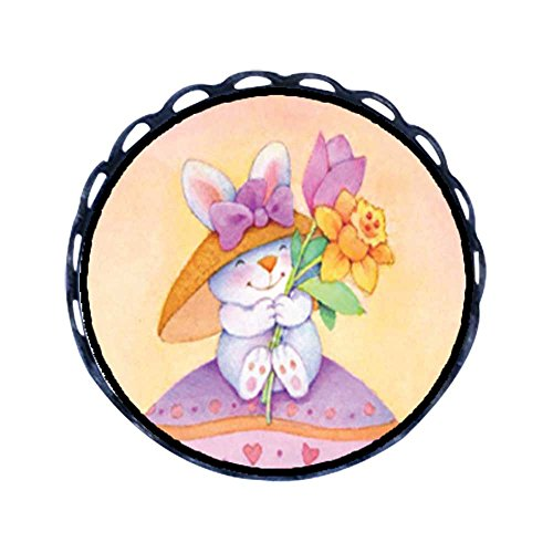 GiftJewelryShop Ancient Style Easter Bunny With Flowers Round Pin Brooch
