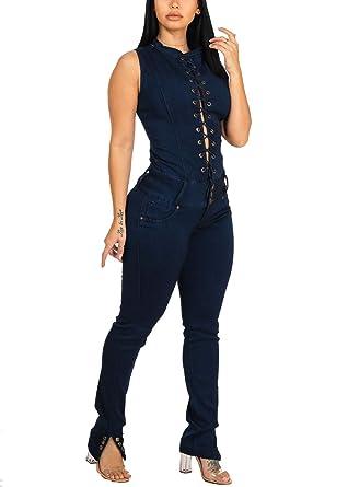 7d0e0c93b3e3 Amazon.com  ModaXpressOnline Women Casual Sexy Curvy Stretchy Skinny Leg Denim  Jumpsuit 10999E  Clothing