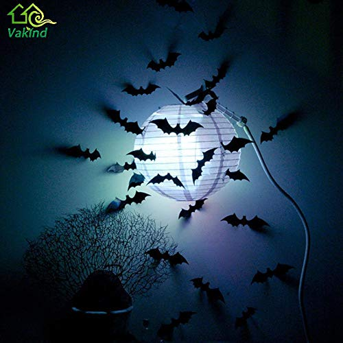 2017 New 12Pcs Black 3D DIY PVC Bat Wall Sticker Decals for Halloween Festival Party Decoration Halloween Stickers ()