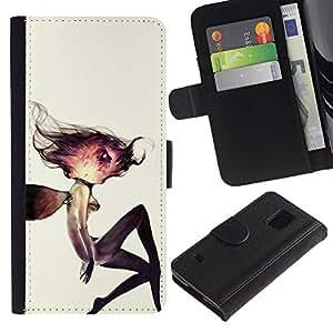 KingStore / Leather Etui en cuir / Samsung Galaxy S5 V SM-G900 / Cosmos Mujer Acuarela Profundo;