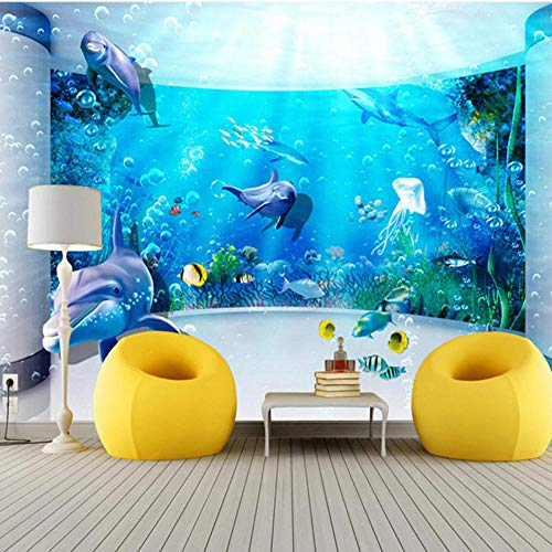 (MRQXDP Large Mural 3D Expansion Space Aquarium Dolphin Ocean Underwater World Living Room TV Background Wallpaper)