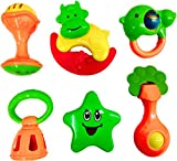 Blossom Baby Teethers Rattle Toy Set (Set of 6 Pcs) with Various Exciting Rattle Toys which comes inside a cute Piggy Bank for New Borns,Toddlers & Infants, Multi Color.
