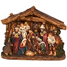 Juvale Nativity Scene - Hand-Painted Christmas Figurine - Holy Family Figure with Baby Jesus, 6 x 4.5 x 1.6 Inches