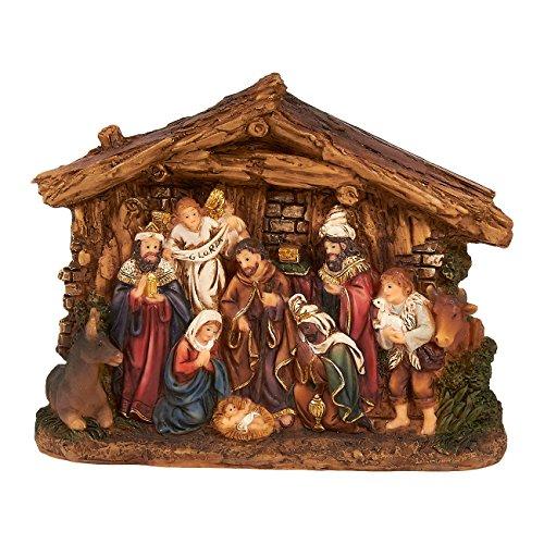 Juvale Nativity Scene - Hand-Painted Christmas Figurine Decor Christian Holiday Gifts - Holy Family Figure with Baby Jesus Nativity Figurine Art Crafts, 6 x 4.5 x 1.6 (Plastic Nativity Scene)