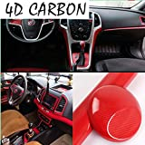 DIYAH 4D Red Carbon Fiber Vinyl Wrap Sticker with Air Realease Bubble Free Anti-Wrinkle 12' X 60' (1FT X 5FT)
