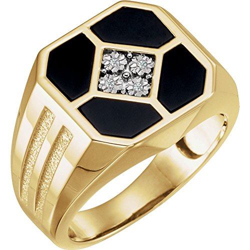 14k Yellow Gold Mens Simulated Onyx and .02 Dwt Diamond Ring - Size 11