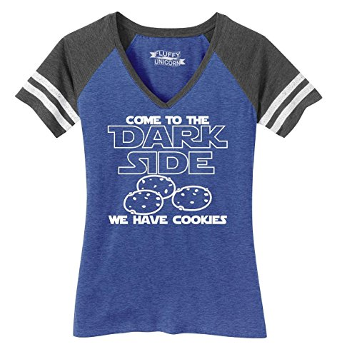 Ladies Game V-Neck Tee Come Dark Side We Have Cookies Funny Tee Nerd Gamer Gift Heathered True Royal/Heathered Charcoal XS