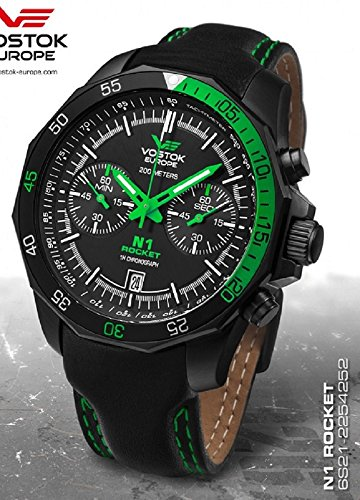 Vostok Europe Men's Rocket N1 Sport Chrono Quartz Analog Watch Black with Green 6S21/2254252