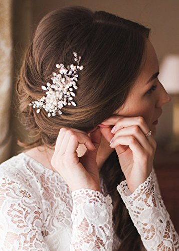Kercisbeauty Wedding Bridal Bridesmaids Flower Girl Vintage Crystal Pearl Combs Headband Bridal Hair Comb Headpiece Long Curly Bun Hair Accessories,Wedding Hair Piece Vintage Hair Comb (Gold)