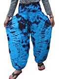'Welcome2Bangkok' TIE DYE FISHERMAN YOGA PANTS HIPPIE BAGGY TROUSERS RAYON FREE SIZE