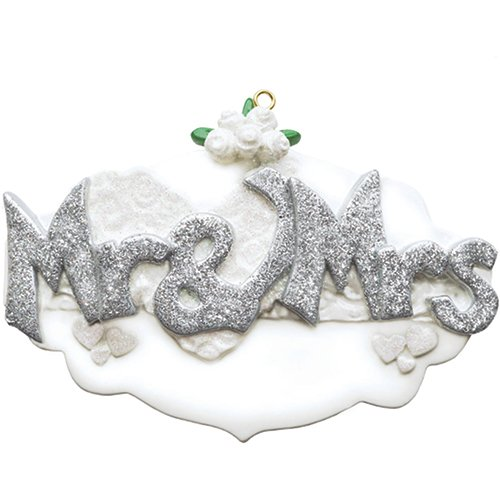 Personalized Mr. & Mrs. Christmas Tree Ornament 2019 - Silver Glitter Sparkle Letter Wedding Invitation Flower Heart Gift Just Married Newlywed Romantic Love Engaged Year - Free - Wedding Snow Invitations White