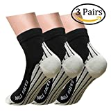Plantar Fasciitis Support Compression Socks Women Men - Best Running Ankle Athletic Socks (S/M, 3Black)