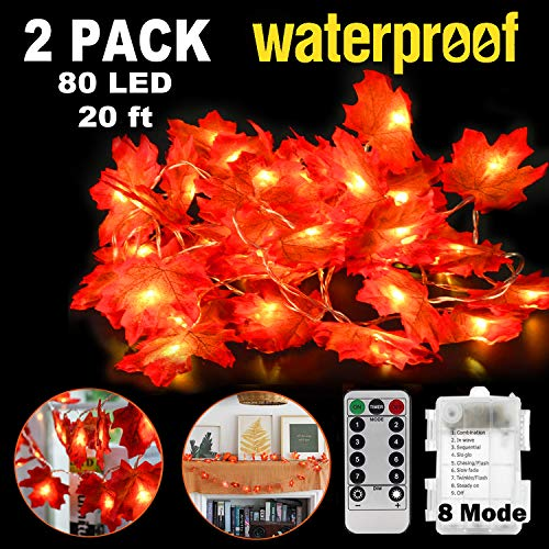 Thanksgiving Decorations 2 Pack Maple Leaves String Light 40ft 80 LED Fall Garland Lighted Fall with Remote Control Waterproof Fairy Light for Christmas Bedroom Indoor Wedding Birthday Party Outdoor