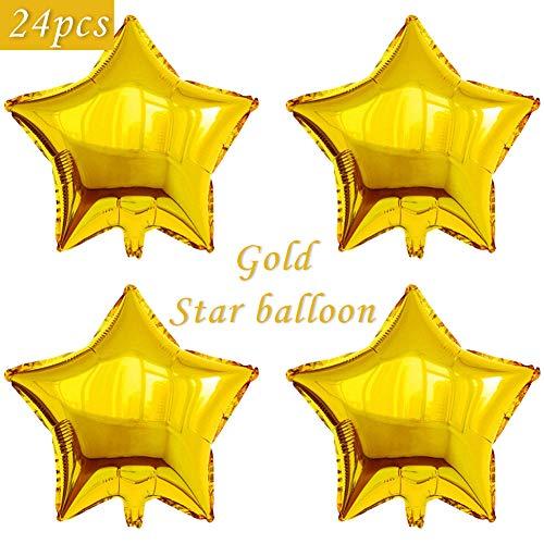 24 pcs Star Shape Foil Mylar Balloons,18 Inch Pentagram Balloon For Birthday Party & Wedding Decoration (Gold) -