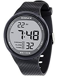 Vogue Men's 100M Waterproof Sports Black Resin Large Digits Digital Dive Basic Watch (Can Be Pressed Underwater)