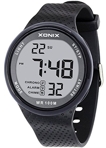 Vogue Men's 100M Waterproof Sports Black Resin Large Digits Digital Dive Basic Watch (Can Be Pressed Underwater)