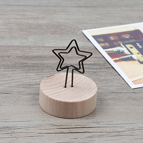 (Home Mart Star Shape Desk Memo Clip Holder Stand Wood Base Seat Tag Clip Name Card Holder Clip 1 Pieces)