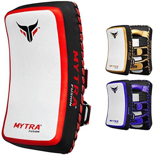 Mytra Fusion Thai pad Kick Shield MMA Kickboxing Muay Thai Training pad arm pad Strike Shield (White Red) ()