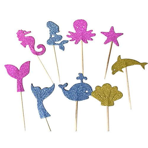 Joinor 27pcs Super Glitter Mermaid Theme Cupcake Muffin Topper Picks Cake Decoration Baby Shower Birthday Party Favors, Including Mermaid, Seahorse, Shell, Dolphin, Octopus, Starfish, Whale, (Dolphin Cake Topper)