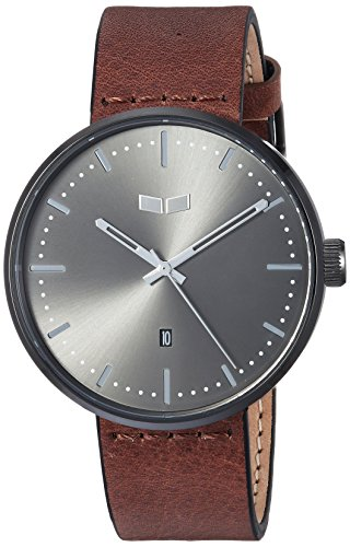 Vestal 'Roosevelt Italian' Quartz Stainless Steel and Leather Dress Watch, Color:Brown (Model: RS42L07.BR)