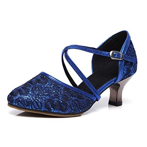 Square fondo tacchi ballo Blue medio latino da Wymname Net Scarpe Surface Modern morbido Womens qwUgz7f