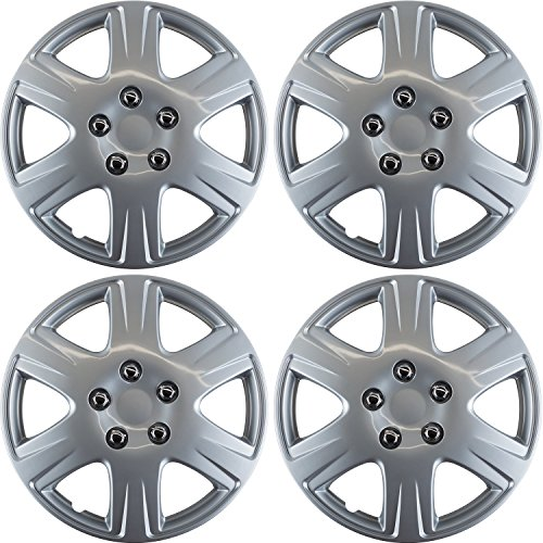(15 inch Hubcaps Best for 2005-2008 Toyota Corolla - (Set of 4) Wheel Covers 15in Hub Caps Silver Rim Cover - Car Accessories for 15 inch Wheels - Snap On Hubcap, Auto Tire Replacement Exterior Cap)